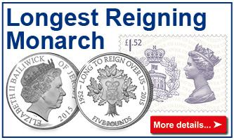 Longest Reigning Monarch coins and stamps
