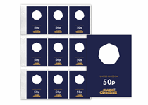Included are 9 Protective Collecting Cards  for the UK 50p coins plus a Collection page ready to slot straight into the Official Change Checker Album.