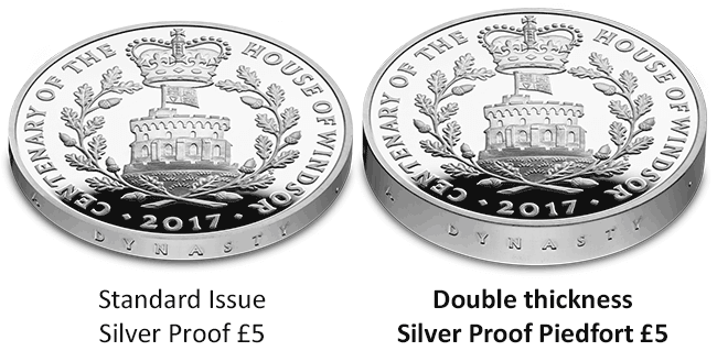 UK 2017 House of Windsor Silver Piedfort Coin Comparison