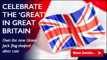 2018 Union Jack Flag Shaped Silver Proof Coin Small Homepage Banner