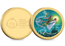 The Peter Pan Gold-Plated Commemorative features a full colour image of Peter Pan and the Darlings on their first flight. The reverse features the Great Ormond Street Hospital Charity logo.