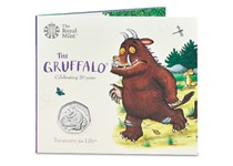 The Gruffalo & Mouse 50p has been issued by The Royal Mint to celebrate the 20th anniversary of the publication of The Gruffalo. Brilliant Uncirculated finish. Original bespoke Royal Mint packaging.