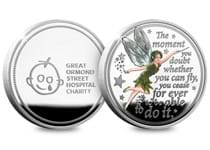 This commemorative features Tinker Bell and a quote from Peter Pan. The commemorative is struck from .925 Silver, and comes in a presentation box with a Certificate of Authenticity. Edition Limit: 995