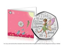 New limited edition notecard displays the 2020 Tinker Bell 50p coin encapsulated in the official Tinker Bell Notecard. The 50p coin features a special illustration of Tinkerbell in full colour.