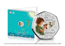This new Peter Pan notecard displays the 2020 Peter Pan 50p coin which is encapsulated in the official Peter Pan collector's card. Features a full colour illustration of Peter Pan and Tinkerbell.