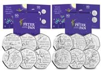 The  2019 and 2020 Official Peter Pan sets together.  Includes 12 coins, each with specially commissioned designs by David Wyatt. All struck to a brilliant uncirculated quality in themed presentation