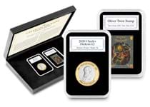 This £2 stamp and coin presentation features the 2020 Charles Dickens £2 and the Jersey Oliver Twist Stamp. In everslabs in large black leatherette box. With Certificate of Authenticity.