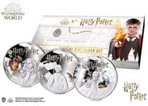 Your 2021 Samoa Harry Potter .999 Silver Proof 1oz Three Coin Set is limited to only 1,000 sets worldwide. This set features Harry Potter, Hermione and Ron in colour.
