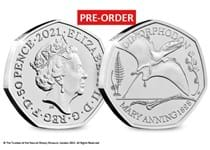 The official Dimorphodon 50p issued by the Royal Mint. 3rd coin in the Mary Anning dinosaur collection. Struck to a Brilliant Uncirculated finish. Comes in a bespoke presentation pack.