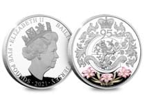 Your Queen Elizabeth 95th Birthday £5 is struck from .925 Silver to a Proof finish, and features a design on the reverse inspired by the Royal Cypher, as well as a selectively coloured Jersey Lily.