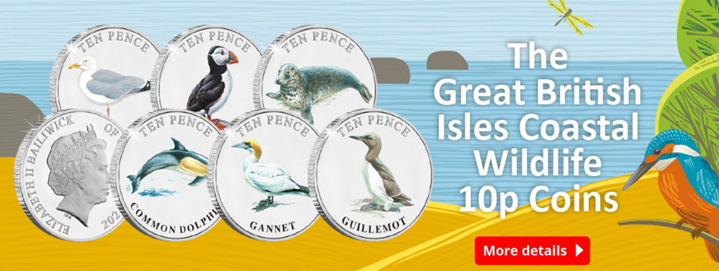 Celebrating British Isles' wildlife, this 10p set comprises six of our most loved coastal animals