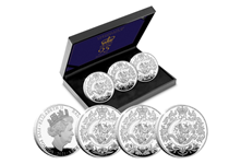 This set brings together three Silver Proof coins issued by Jersey, Guernsey and the Isle of Man. Each features a brand new design specially commissioned to mark this milestone occasion.