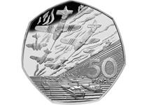 Issued in 1994 to commemorate 50 years since the D-Day landings during WWII. Reverse design features an armada of ships and planes. This is an older 50p piece which cannot be found in circulation.