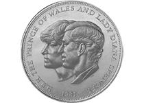 Issued in 1981 to celebrate the wedding of Charles and Diana in July 1981. The reverse features conjoined profiles of the bridal couple.