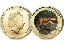 This 24 Carat Gold-plated coin features a specially commissioned colour image of the famous T-Rex. When a UV light is shone onto the reverse design you will see the skeleton appear.