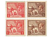 These stamps were issued to celebrate the British Empire Exhibition in 1924 and are Britain's first ever commemorative postage stamps. Also included is the 1925 reissued version.