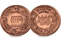 This stamped medal, struck to an antique copper finish features a replica of the infamous Pistrucci medal, orignally commissioned for the Royal Mint after the Battle of Waterloo.