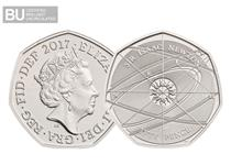 This 50p has been issued to celebrate the life and work of one of Britains greatest scientists - Isaac Newton.