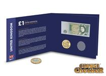 The Change Checker £1 Collector's Pack features the last £1 banknote and the 2016 Last Round Pound, both encapsulated in the pack. There is also space for the new 12-sided £1 coin.