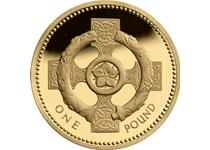 Issued in 1996 and 2001 as part of the heraldic emblem £1 series The reverse features the Broighter Collar over a Celtic Cross to represent Northern Ireland. Uncirculated quality.