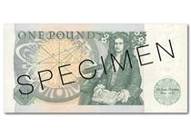 This is the first £1 banknote issued after decimalisation. It was issued from 1978-1981. The reverse features Isaac Newton, and the obverse features the Chief Cashier signature of J B Page.