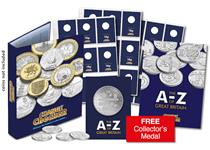 This A-Z 10p Collector's Kit includes everything you need to collect and display all A-Z 10p coins issued in 2018, including the Official Album to display them in and a FREE Collector's Medal.