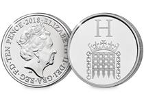 This 10p coin has been issued by The Royal Mint to celebrate Great Britain. It features the letter 'H' and represents the Houses of Parliament. This 10p is an Early Strike UK uncirculated 10p coin.