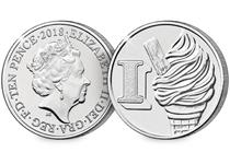 This 10p coin has been issued by The Royal Mint to celebrate Great Britain. It features the letter 'I' and represents Ice-cream. This 10p is as an Early Strike UK uncirculated 10p coin.