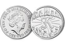 This 10p coin has been issued by The Royal Mint to celebrate Great Britain. It features the letter 'K' and represents Kind Arthur. This 10p is an Early Strike UK uncirculated 10p coin.