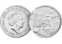 This 10p coin has been issued by The Royal Mint to celebrate Great Britain. It features the letter 'L' and represents the Loch Ness Monster. This 10p is as an Early Strike UK uncirculated 10p coin.