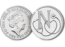 This 10p coin has been issued by The Royal Mint to celebrate Great Britain. It features the letter 'N' and represents the NHS. This 10p is Certified as an Early Strike UK uncirculated 10p coin.