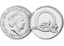 This 10p coin has been issued by The Royal Mint to celebrate Great Britain. It features the letter 'Q' and represents a Queue. This 10p is an Early Strike UK uncirculated 10p coin.