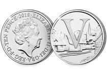 This 10p coin has been issued by The Royal Mint to celebrate Great Britain. It features the letter 'V' and represents villages. This 10p is an Early Strike UK uncirculated 10p coin.