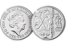 This 10p coin has been issued by The Royal Mint to celebrate Great Britain. It features the letter 'X' to represent X Marks the Spot. This 10p is an Early Strike UK uncirculated 10p coin.