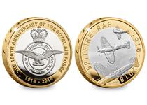 The RAF celebrates 100 years in 2018. Silver Spitfire and Silver Badge together in commemoration of this event