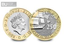 The Royal Mint issued this £2 to commemorate the 250th anniversary of Captain Cook's voyage of Discovery. This £2 has been protectively encapsulated and certified as Brilliant Uncirculated quality.