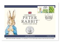 Coin Cover featuring The Royal Mints 2016 Peter Rabbit 50p and Royal Mails Peter Rabbit stamp.postmarked on Beatrix Potter's birthday: 28.07.18. Edition Limit: 9,995.