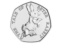 This 50p was issued by The Royal Mint as part of the second series of 50p coins to celebrate the life work of Beatrix Potter. This coin features the design by Emma Noble of Peter Rabbit.