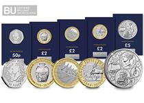 The set includes all 5 new issues including: the Sir Arthur Conan Doyle 50p, the Wedgwood £2, the Samuel Pepys £2, the D-Day £2, and the Queen Victoria and Prince Albert £5.