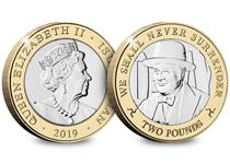 2019 marks the 75th anniversary year of the Normandy Landings which took place on 6th June 1944, known as D-Day. This £2 coin features a portrait of an important figure during D-Day-Winston Churchill