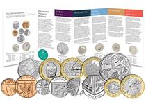 This 2019 Annual Coin Set issued by the Royal Mint featuring the definitive circulating coins ins a Brilliant Uncirculated finish and 5 new commemorative coins issued for 2019. 13 coins in total.