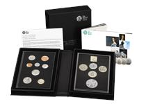 2019 Annual Proof Coin Set issued by the Royal Mint featuring the 8 definitive UK coins and 5 new commemorative issues for 2019, finished to proof standard. Comes in official Royal Mint packaging.