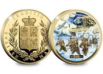 Issued to commemorate the 75th Anniversary of the D-Day landings. Plated in gold and features a montage by artist Trevor Mitchell. Obverse features NumisProof heraldry design. Edition limit: 2019.