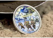 Issued to commemorate the 75th Anniversary of the D-Day landings. Made of silver and features a D-Day montage by artist Trevor Mitchell. Obverse features NumisProof Heraldry design.Edition limit: 495.