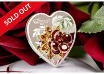 Stunning fine silver coin struck in the shape of a heart, featuring Swarovski crystals representing a flower bouquet. Words read 'Happy Valentine's Day 2019'. The perfect gift this Valentine's Day.