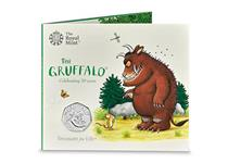 The Gruffalo 50p issued by the Royal Mint to mark the 20th anniversary of it's release. The reverse features The Gruffalo, by Magic Light Pictures. Official Royal Mint packaging to a BU finish.