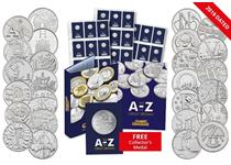 The 2019 UK Complete Uncirculated A-Z 10p set includes all of the A-Z 10p coins issued by The Royal Mint. Each 10p has been protectively encapsulated and certified as Uncirculated.