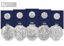 The 2019 50th Anniversary of the 50p CERTIFIED BU Coin Set includes five brand new 50p coins that have been reissued by The Royal Mint in 2019 including the sought-after Kew Gardens 50p.