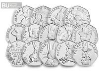 The Complete Beatrix Potter Collection includes all 14 coins in the 2016, 2017 and 2018 Beatrix Potter 50p series including the new 2019 Peter Rabbit 50p.