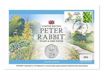 UK Cover featuring The Royal Mint's 2019 Peter Rabbit 50p, Royal Mail's fields stamp with a label featuring a design of Peter Rabbit. Postmarked on the First Day of Issue 19.03.19. Edition Limit: 995.